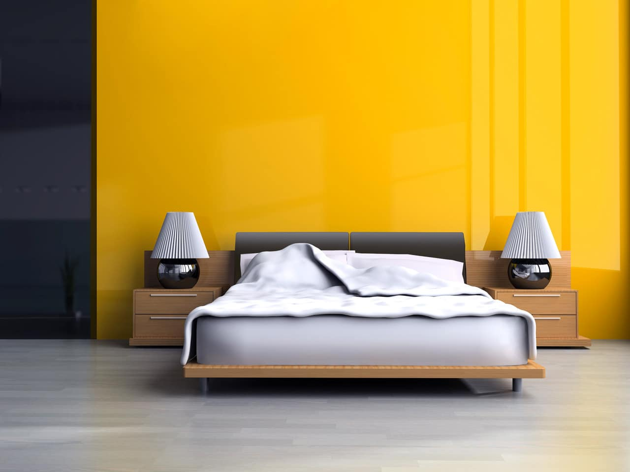 yellow airbnb bedroom