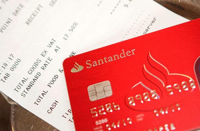 A Santander credit card and bill