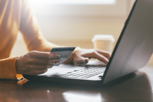 Checking credit score on laptop